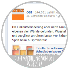 DIY-Empfehlung von OBI 25.09.2012