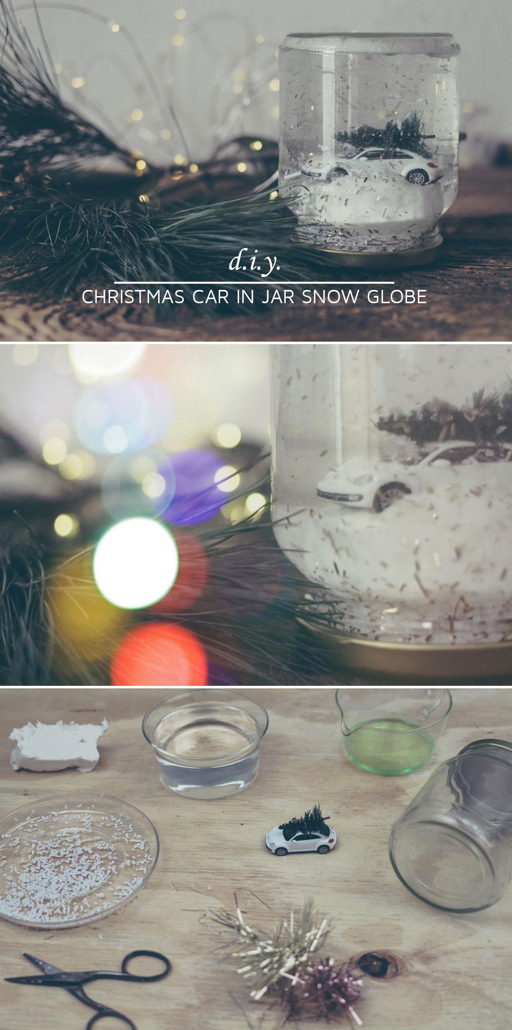 diy jar snow globe diy schneekugel mit modellauto n hmarie. Black Bedroom Furniture Sets. Home Design Ideas